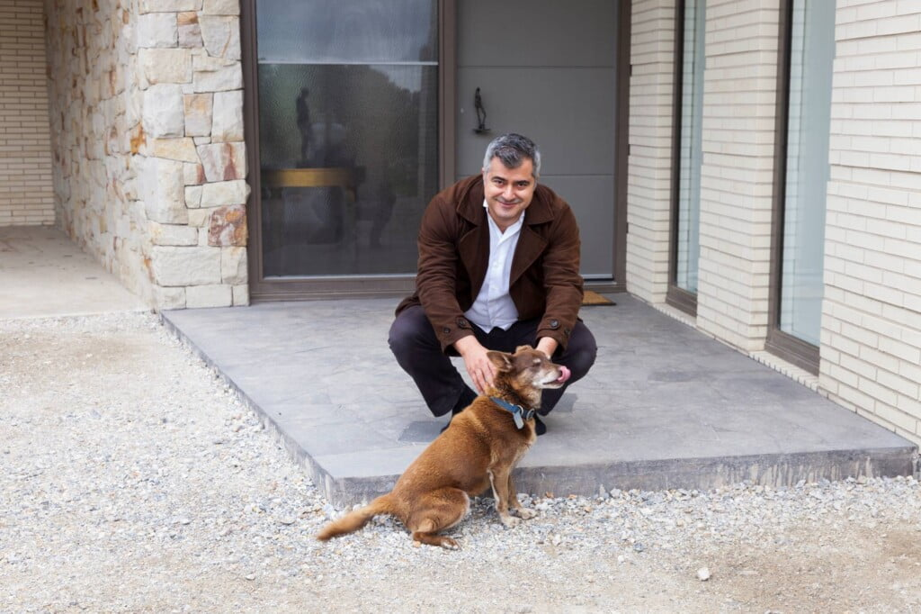 Michael Ellis with a dog